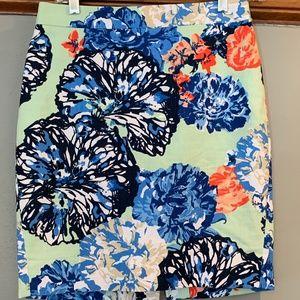 J. Crew The Pencil Skirt Floral size 0P